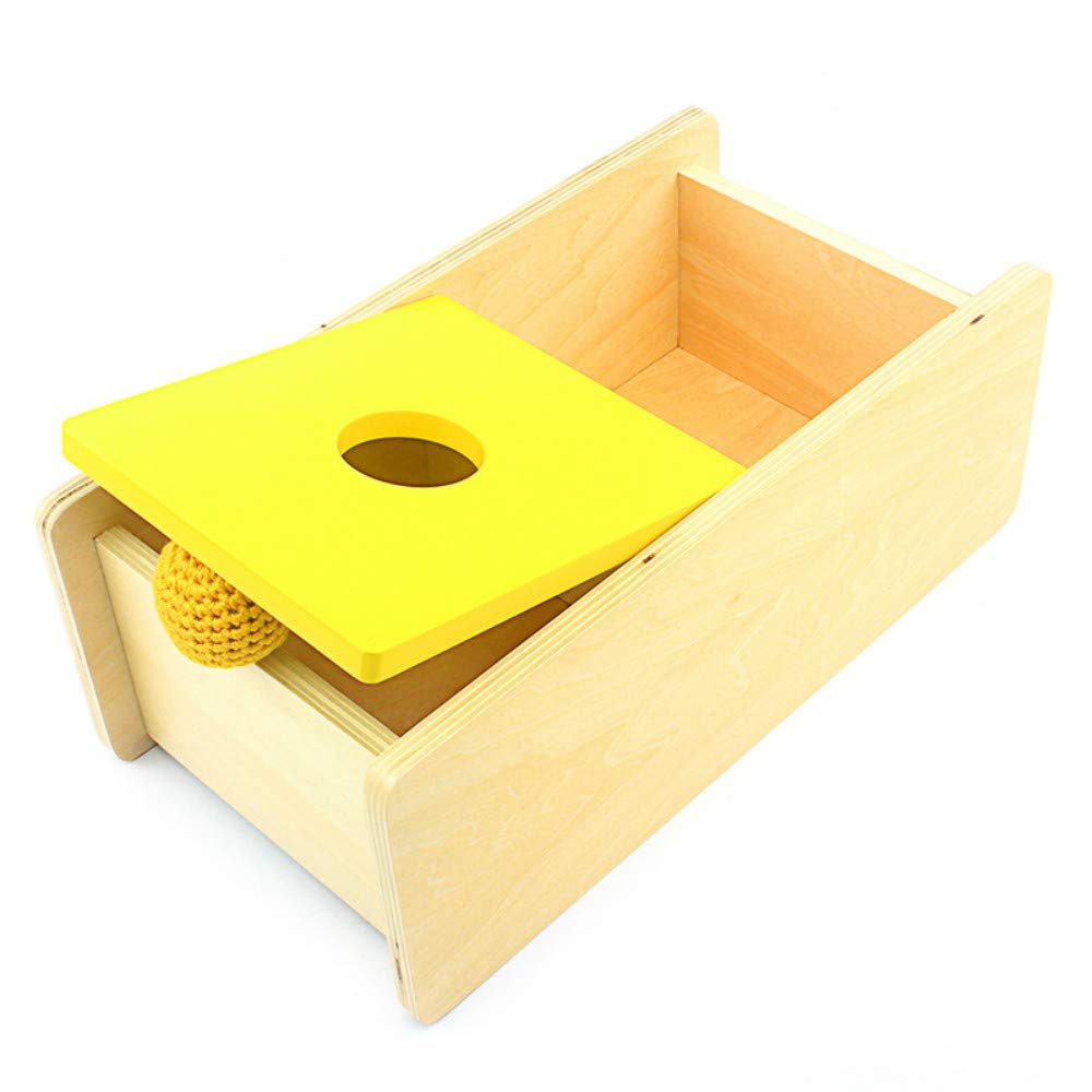 Montessori Toddler Imbucare Box with Flip Lid Knit Ball Wood Learning Educational Preschool Training Baby Toy Brinquedos Juguets Yellow