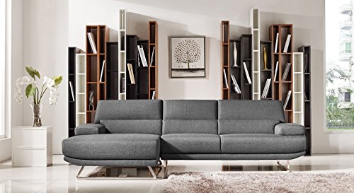 Limari Home Maya Collection Modern Fabric Upholstered Living Room Sectional Sofa, Grey