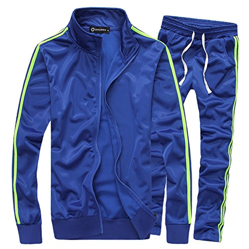 Mens Jogging Suits - MACHLAB Men's Athletic Full Zip Running Tracksuit Sports Set Casual Sweat Suit Navy L