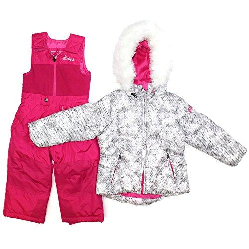 Weatherproof Girls 2 Piece Snowsuit Bib and Jacket Set (3T, Pink/Grey) (Snowsuit For 2 Piece Toddlers)