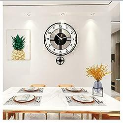 Huanxidp Wall Clocks Wall Clock Modern Design Swingable Silent Large Clocks Home Decor Living Room Kitchen Watch Hanging Pendulum Clocks Free Shining 30Cx36Cm