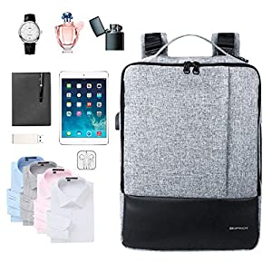 KOPACK 3 in 1 Laptop Backpack Slim Usb Charging Port Convertible Laptop Briefcase Water Resistant Shoulder Bag 15.6 inch