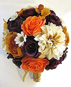 Amazon.com: Wedding Silk Flowers Bridal Bouquet BURGUNDY ...