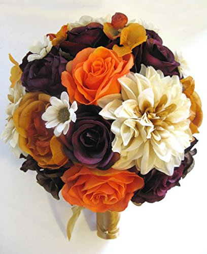 Wedding Silk Flowers Bridal Bouquet BURGUNDY GOLD Brown ORANGE Plum 17 Piece package wedding bouquets Fall Silk flower