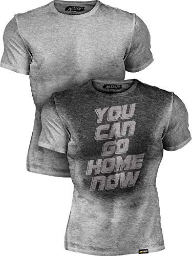 Actizio Sweat Activated Funny Motivational Workout Shirt, You Can Go Home Now (Athletic Heather, XL)