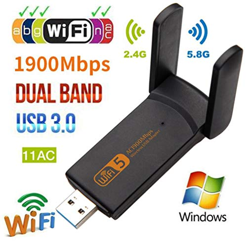 USB WiFi Adapter, 1900mbps Dual Band 2.4G/ 5G Wireless Adapter, Mini Wireless Network Card WiFi Dongle for Laptop/Desktop/PC, Support Windows10/8/8.1/7/Vista/XP/2000, Mac OS X 10.6-10.14