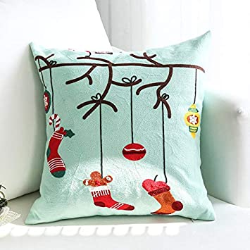 Image ofLLWYH Fundas De Cojín Decorativas Sofá De Navidad Bordado Decorado Funda De Almohada Cuadrada 45X45Cm (Sin Núcleo De Almohada) B