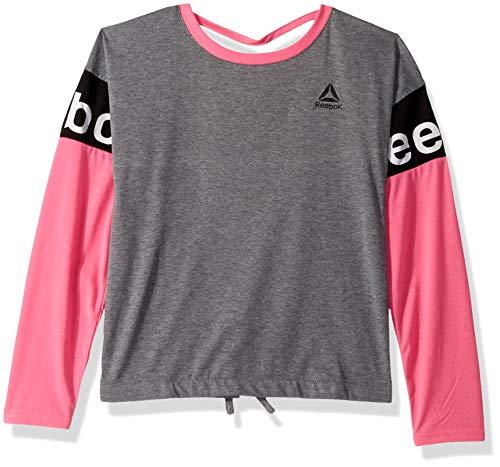 Reebok Tie Jersey - Reebok Girls' Little Slit Back Long Sleeve T-Shirt, Dark Heather Grey, 4