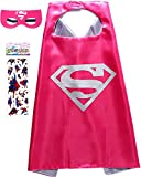 Superhero Costume and Dress Up For Kids - Satin Cape and Felt Mask (Supergirl)