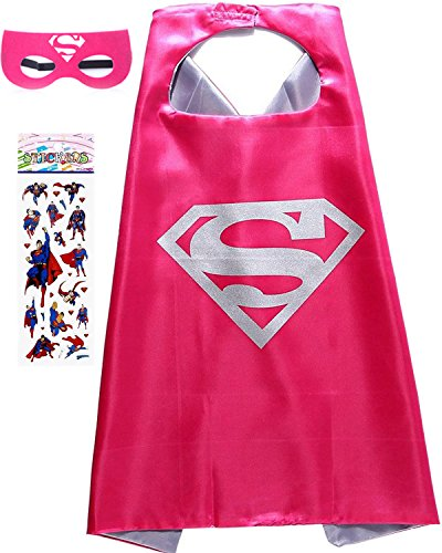 Superhero Costume and Dress Up for Kids - Satin Cape and Felt Mask (Super- Girl) -