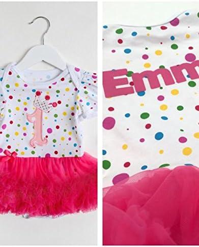 Personalised Baby Girl 1ST Birthday Spotty Tutu Romper Set with Headband