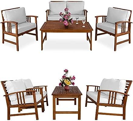 Deuba | Salon de Jardin Atlas • en Bois d\'Acacia • Coussins crème |  Ensemble Table et Chaise de Jardin, mobilier, terrasse