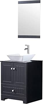 Walcut 24 Inch Black Bathroom Vanity With Ceramic Vessel Sink And Faucet Pop Up Drain Combo Kitchen Dining