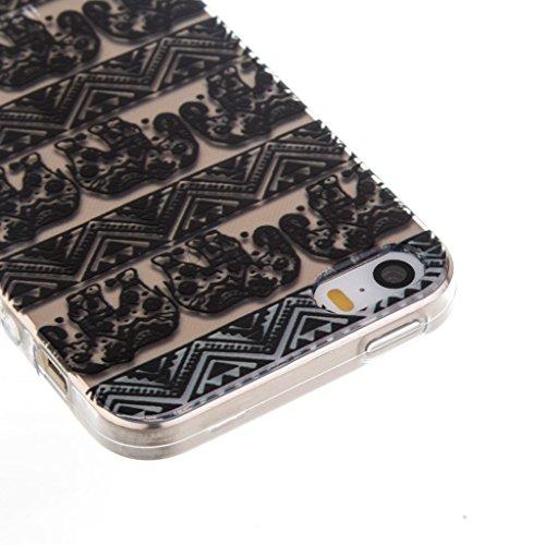 ZXLZKQ Coque pour iPhone 5C Etui Ultra Mince Noir éléphant Polka Dot Fleur Souple TPU 3D Silicone Housse Case Coque pour Apple iPhone 5C (Non compatible iPhone 5)