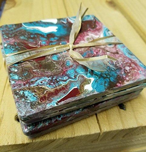 Amazon com: Coasters tile, set of 4  Acrylic pour : Handmade