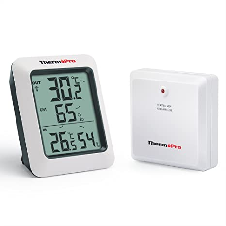 ThermoPro TP60 Inalámbrica digital Termómetro Higrómetro interior y exterior, Medidor de humedad temperatura, Función de memoria