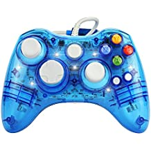 J&T Wired USB Joypad Xbox 360 Controller Transparent Gamepad with Shining LED Light