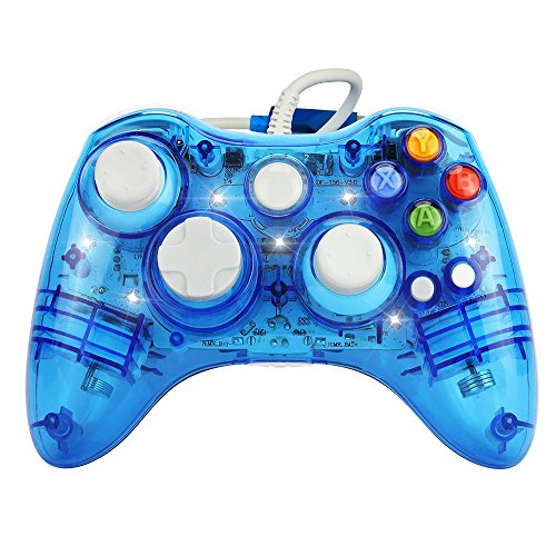 Transparent Game Controller (J&T Wired USB Joypad Xbox 360 Controller Transparent Gamepad with Shining LED Light)