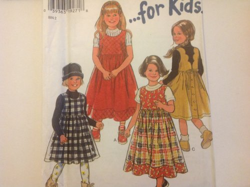 (New Look Sewing Pattern 6558 for Girls Sizes 2-3-4-5-6-7 Puff Sleeve Gathered to Raised Waist Back Button Jumper with Back Scalloped Detail Hem Band or Back Tie)