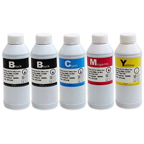 INKUTEN 5 Bottles Refill Ink (2x 500ml Black, 1x 500ml Cyan, 1x 500ml Magenta, 1x 500ml Yellow) For Brother LC-41, LC-51, LC-71 , LC-75 LC-61, LC-65, LC-79, LC-103, LC-105, LC-107