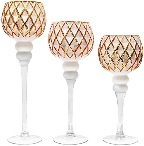 Galashield Votive Glass Candle Holders Set of 3 Tealight Hurricane Candle Stand Centerpieces for Wedding Table Gold/White (16