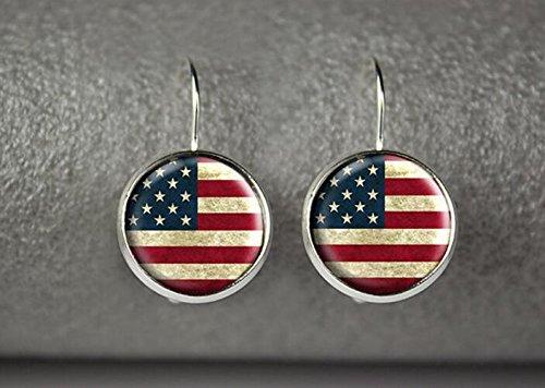 [USA flag earrings, US flag earrings, American flag earrings, US flag jewelry] (United Nations Costumes For Women)