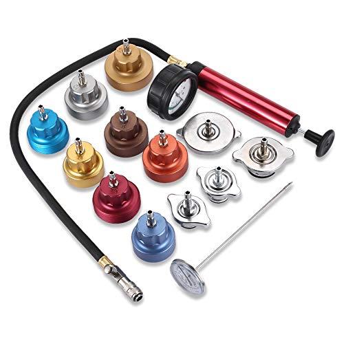 Water Tank Leak Detector Kit Radiator Pressure Tester Pump Adapters 14 PCs Pressure Cooling System car Leak Tester Kit Detector Tool Auto Coolant Vacuum Purge Head Gasket Universal Automotive by PADY- Automotive (Image #1)