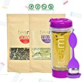 30 Day Detox Tea Kit for Teatox & Weight Loss to get a Skinny Tummy by Teami Blends | Our Best Colon Cleanse Blend to Raise Energy, Boost Metabolism, Reduce Bloating! (Big Purple Tumbler & Infuser)