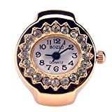 Womens Rose Gold Silver Crystal Quartz Finger Ring Watch with Gift Box (Gold Oval)