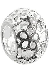 Queenberry Sterling Silver Filigree Daisy Flower Bead For European Charm Bracelets