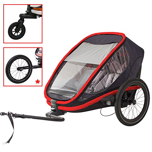 - Hamax Outback Multi-Sport Child Bike Trailer + Stroller +Jogger (Two Seats, Charcoal/Red)