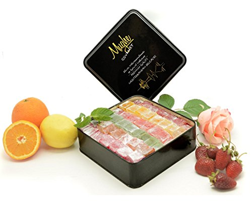 Mix Plain Turkish Delight Tin Box (No Nuts) - 5 different flavors: Rose, Strawberry, Lemon, Orange & Mint - 100 Pcs Approx. (Gift Basket Tin Box 3 Lbs, 48 - Nut Rose