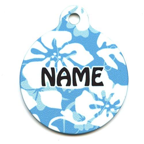 (Yellow Dog Design Island Floral Blue Personalized Hi Def Pet ID Tag with Silencer, Small 1