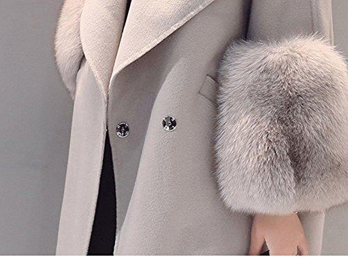 4a9881b9e9828d Bevalsa Damen Wintermantel Wollmantel Mit Faux Pelz Kragen Parka  Herbstjacke Elegant Warm Trenchcoat Lang Mantel Übergangsjacke Dufflecoat  Outwear: ...