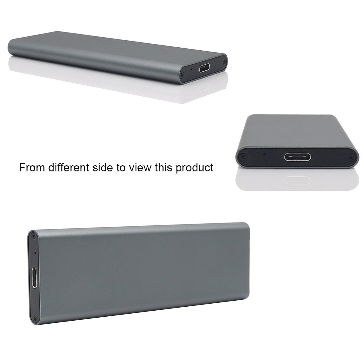 Aluminum M.2 NGFF to USB 3.1 M.2 SSD Enclosure External SSD Enclosure SATA Based M.2(Grey) by Generic (Image #7)