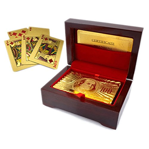 (Luxurious 24K Gold Plated Playing Cards Case and Certificate with Wooden Gift Box | Make Your Magic Tricks More Luxurious & Creative Family & Friends)