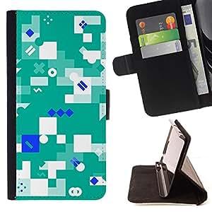 BullDog Case - FOR/Samsung Galaxy S6 EDGE / - / Abstract Green /- Monedero de cuero de la PU Llevar cubierta de la caja con el ID Credit Card Slots Flip funda de cuer