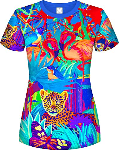 aofmoka Neon Lion Jungle Tree Nation Cover Up Paint Splatter Super Soft Tee for Women