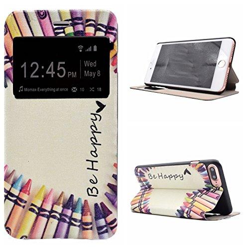 Voguecase® Pour Apple iPhone 7 Plus 5,5 Coque, Fenêtre Étui en cuir synthétique chic avec fonction support pratique pour Apple iPhone 7 Plus 5,5 (Be happy/crayon)de Gratuit stylet l'écran aléatoire un