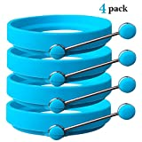Ozera 4 Pack Nonstick Silicone Egg Ring Pancake Mold, Round Egg Rings Mold, Blue