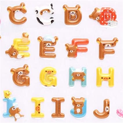 Amazon.com: ABC pegatinas del alfabeto 3d oso café Rilakkuma ...