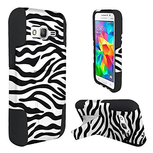 (Samsung Galaxy Core Prime Phone Case, Bastex Rubberized Zebra/Black Design Dual Layer Hybrid T Kickstand Case Cover)