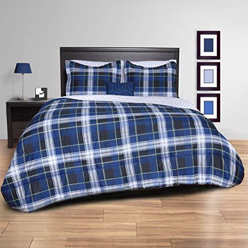 beco home bedding collection 8 piece bed in a bag comforter set blue plaid full bed frame. Black Bedroom Furniture Sets. Home Design Ideas