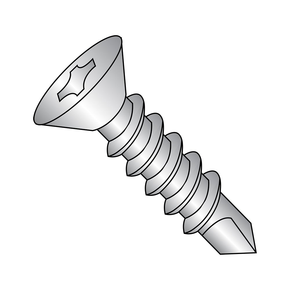 18-8 Stainless Steel Self-Drilling Screw, Plain Finish, 82 Degree Flat Head, Phillips Drive, #2 Drill Point, #8-18 Thread Size, 1' Length (Pack of 25) 1 Length (Pack of 25) Small Parts 0816KPF188