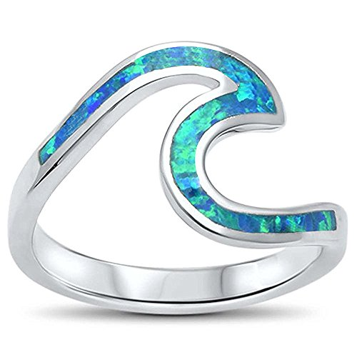 Oxford Diamond Co Wave Ocean Beach Lab Created Opal .925 Sterling Silver Ring Sizes 4-12 Colors Available (Lab Created Blue Opal, 12) ()
