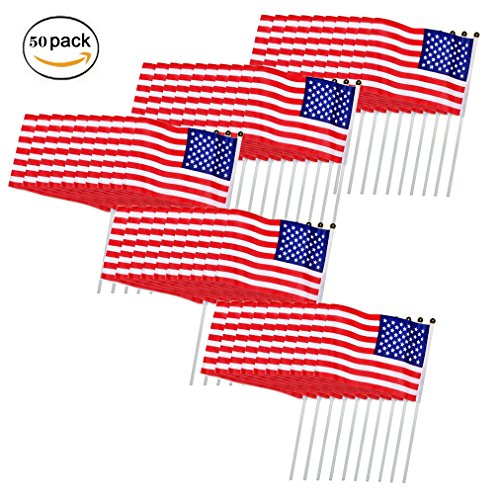 Display Flag Memorial Day (DB.WOR American Flags 50 Pack US Hand Held Stick Flags Patriotic Mini Plastic Stick Round Top Flags Decoration Parades Handheld 5.58.3 Inch)