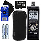 Olympus WS-853 Digital Voice Recorder (Black) with Direct USB + 16GB MicroSD Memory Card + Protective Case + AAA Rechargeable Batteries + HeroFiber Ultra Gentle Cleaning Cloth