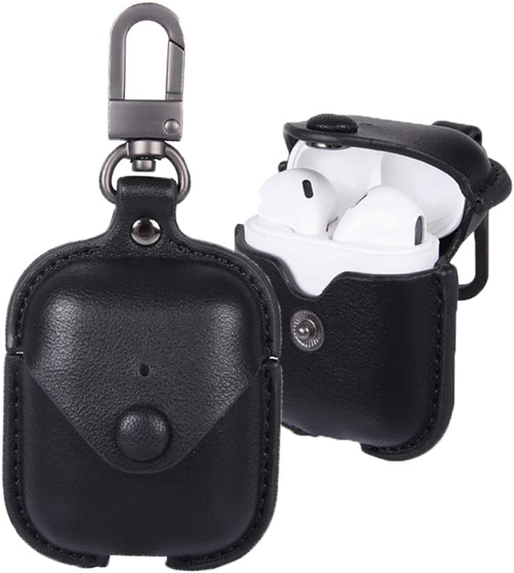 Leather Case for AirPods with Keychain, Yoelike Premium Leather Vintage Portable Shockproof Protective Cover for Apple AirPod Earphones Charging Case (PU-Black)