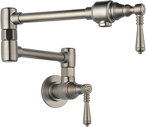 Brizo 62810LF-SS Double Handle Wall Mount Pot Filler with Metal Lever Handles, Stainless Steel