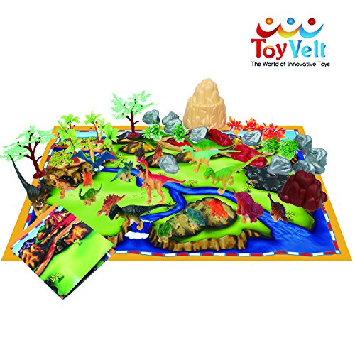 50 Piece Dinosaur Play Set: Ultimate Educational Toy of 20 Realistic Dinosaurs + 29 Trees & Rocks + PlayMat | Walking Dinos with Moving Jaws To Develop Kids Imagination | Top Dinosaur Gift Set by ToyVelt (Image #4)